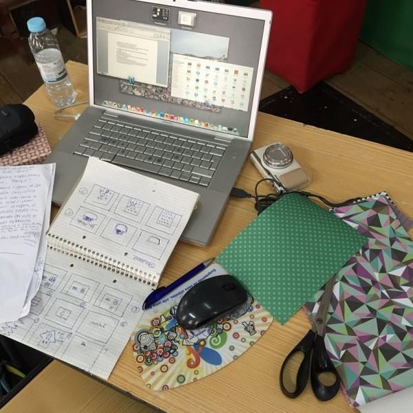 Preparações e storyboard para o filme da Teresa, workshop 1