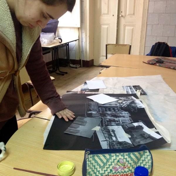Sara a preparar e filmar as suas imagens, workshop 2